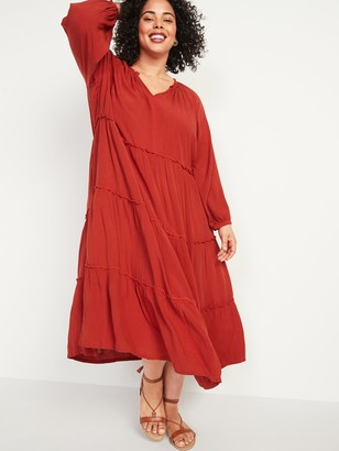 Old Navy Crinkle-Crepe Ruffle-Tiered Plus-Size Maxi Swing Dress