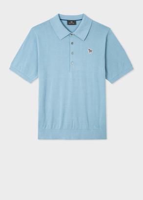 Paul Smith Men's Light Blue Knitted Cotton Zebra Polo Shirt