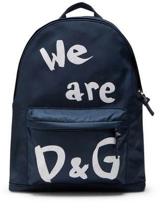 Dolce & Gabbana Kids We Are Logo Backpack