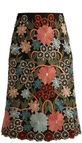 RED Valentino Floral macramé-embroidered midi skirt