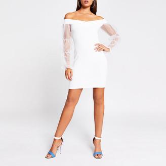 River Island White organza puff sleeve bardot mini dress