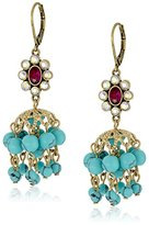 "Betsey Johnson Boho Betsey"" Faceted Stone Cluster and Shaky Turquoise Bead Drop Earrings"
