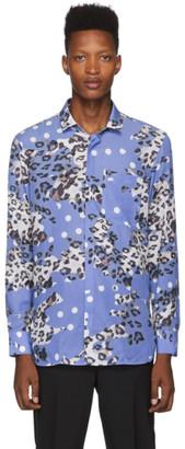 Neil Barrett Blue Leopard Polka Dot Shirt