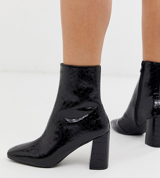 Raid Wide Fit Kim black croc patent heeled ankle boots