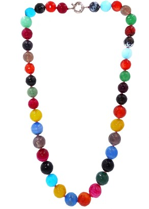 Savvy Cie Graduated Multi-Color Agate Bead Necklace