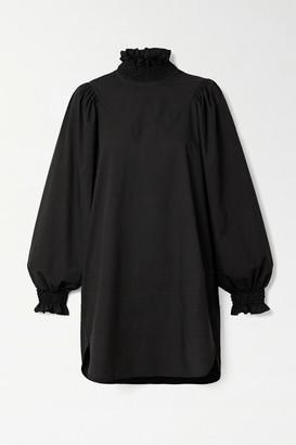AVAVAV Ruffled Smocked Cotton-poplin Mini Dress - Black