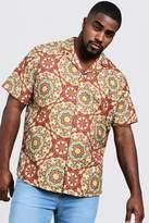 Big & Tall Tile Print Revere Collar Shirt