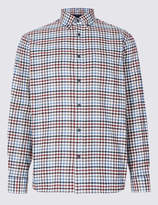 Blue HarbourMarks and Spencer Pure Cotton Checked Shirt with Pocket