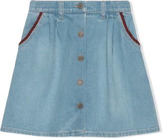 Gucci Kids Interlocking G denim skirt