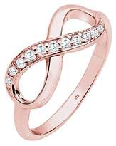 Elli Women's 925 Sterling Silver Rose Gold-Plated Infinity Zirconia Ring - Size Q