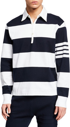 Thom Browne Men's Oversized Ruby Polo Shirt