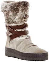 Manas Design Genuine Rabbit Fur Trimmed Platform Boot