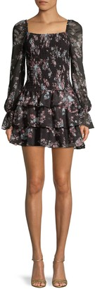 Willow & Clay Smocked Floral Ruffle Mini Dress