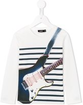 Junior Gaultier striped guitar print T-shirt