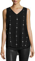 Neiman Marcus Embroidered Chiffon Tank, Black