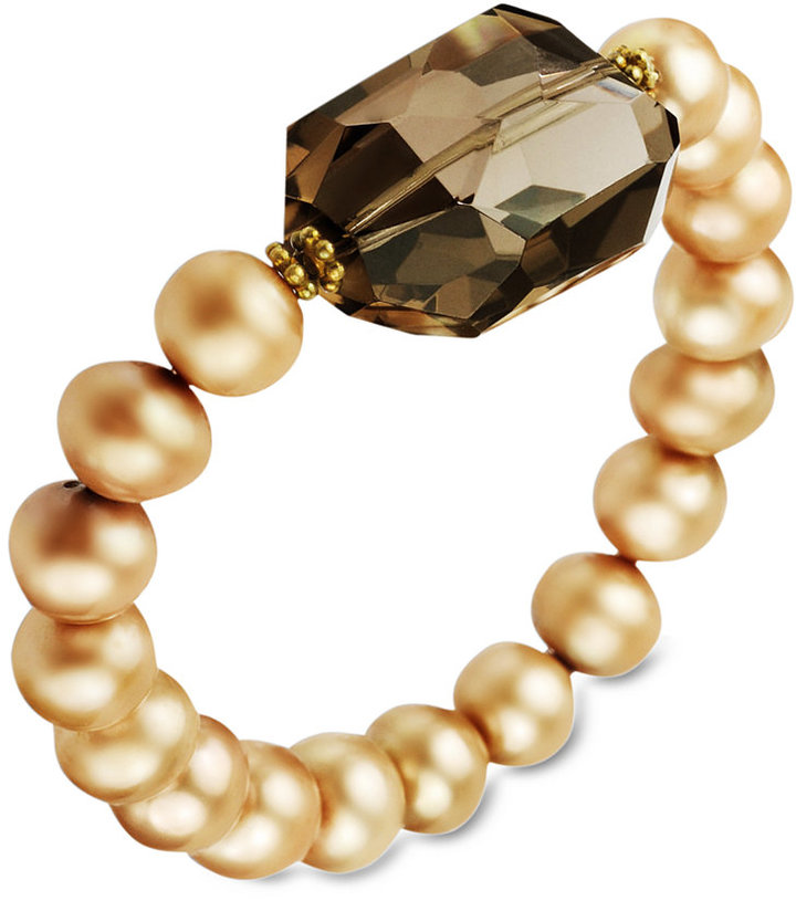18k Gold over Sterling Silver Bracelet, Light Champagne Cultured Freshwater Pearl (8-9mm) and Smokey Quartz (23-3/4 ct. t.w.) Stretch Bracelet