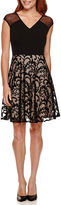 London Times London Style Collection Cap-Sleeve Illusion-Neck Lace Fit-and-Flare Dress - Petite