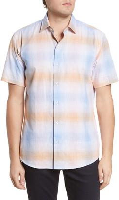 Bugatchi Shaped Fit Plaid Short Sleeve Button-Up Cotton & Linen Shirt