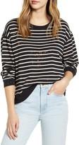 Found Denim Stripe Bleach Splatter Cotton Blend Sweatshirt