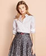 Brooks Brothers Contrast-Collar Dobby Dot-Stripe Shirt