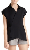 Halston Georgette Drape-Back Wrap Top