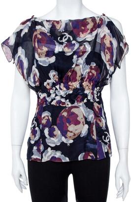 Chanel Navy Blue Camellia Print Silk Smocked Sheer Blouse L