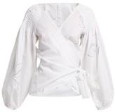 Merlette New York Sant Joseph Smocked-cotton Wrap Blouse - Womens - White Print