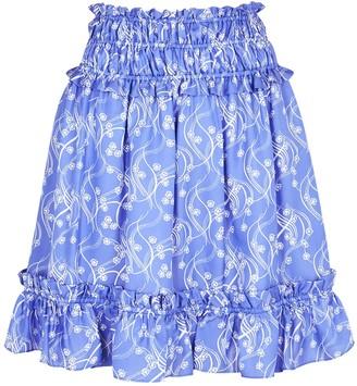Kenzo Blue printed crepe de chine mini skirt