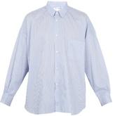 Comme Des Garcons Shirt Oversized Striped Cotton Shirt