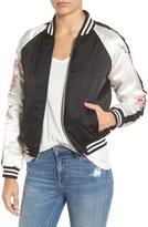 BB Dakota Women's Mckay Embroidered Satin Bomber Jacket
