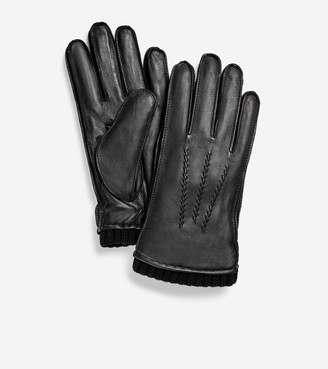 Cole Haan GRANDSERIES Leather Knit Cuff Glove