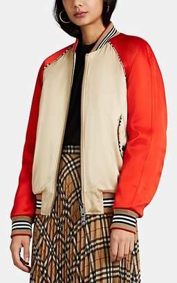 Burberry Women's Colorblocked Satin Bomber Jacket - Honey