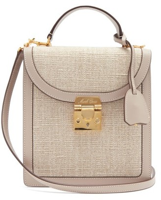 Mark Cross Uptown Leather-trimmed Canvas Cross-body Bag - Beige