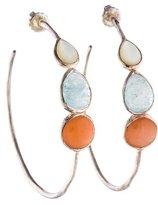 Ippolita Moonstone, Aquamarine & Mother Of Pearl Hoop Earrings