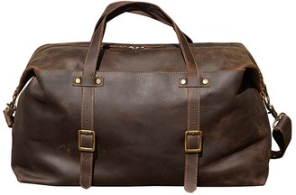 Touri Large Leather Holdall In Vintage Brown