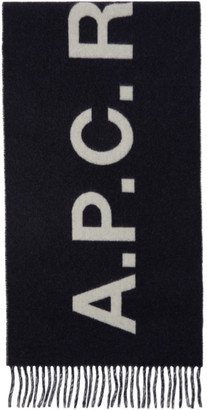 A.P.C. Navy and White Angele Scarf