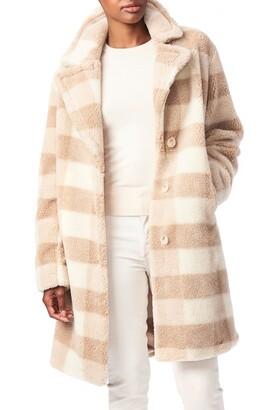 Bernardo Check Teddy Faux Fur Coat