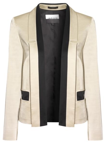 Jaeger Satin Contrast Trim Jacket, Champagne