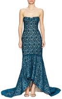 Monique Lhuillier Strapless Lace High-Low Gown