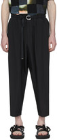 Fumito Ganryu Black Tapered Ring Belt Trousers