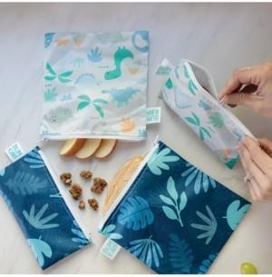 Bumkins 2-Pk. Dinosaur & Blue Tropic Snack Bag Set