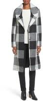 Kensie Textured Plaid Long Coat