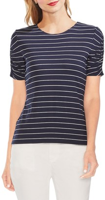 Vince Camuto Stencil Stripe Ruched Sleeve Tee (Regular & Petite)