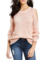 RD Style Cold Shoulder Open Back Lightweight Sweater