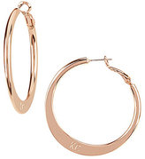 Kenneth Cole New York Logo Knife Edge Hoop Earrings