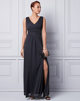 Le Château Knit V-Neck Ruched Gown