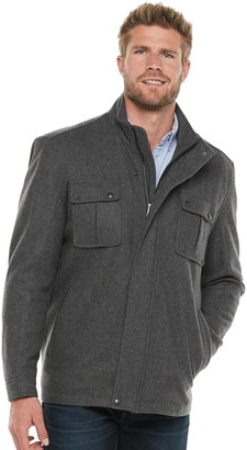 Men's Vintage Leather Wool-Blend Stand-Collar Jacket