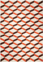 Jonathan Adler Orange Lorenzo Reversible Peruvian Llama Flat Weave Rug
