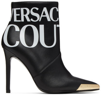 Versace Jeans Couture Black Logo Ankle Boots