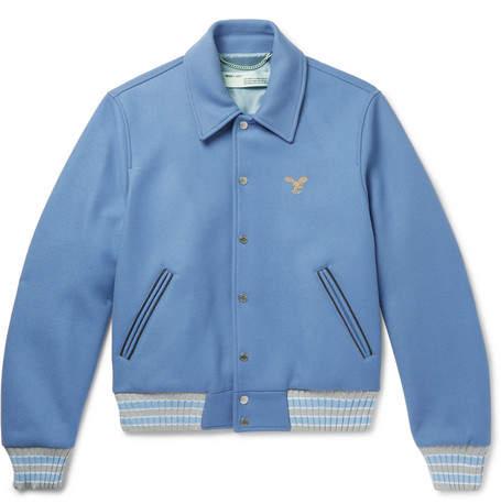 Off-White Embroidered Wool-blend Felt Bomber Jacket - Blue